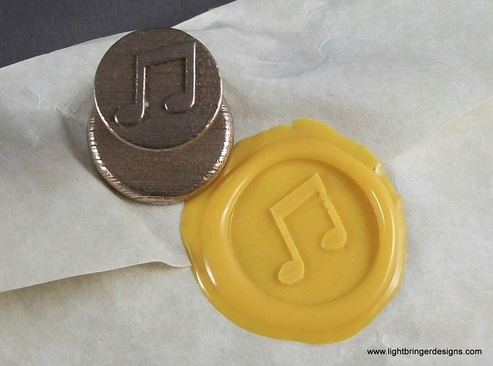 Music Notes Wax Seal 3d printed Music Notes Wax Seal with impression in Sunflower Yellow sealing wax