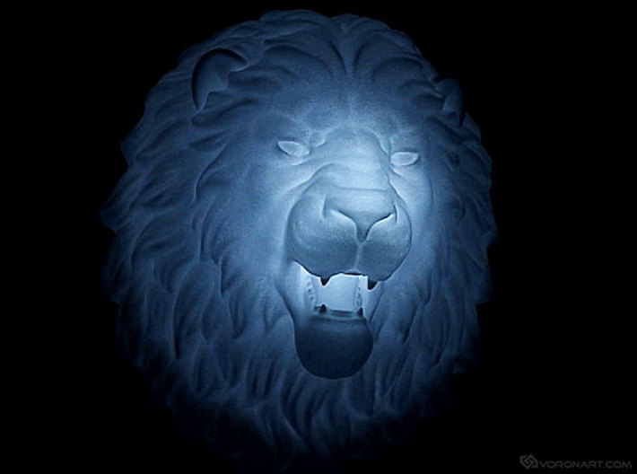 Lion Head Wall Mount. 3d printed LED light inside