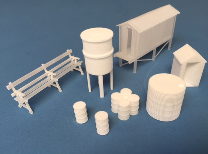 Concrete relay hut (HO) With stand 3d printed A collection of some of the other models available in the madasu range.