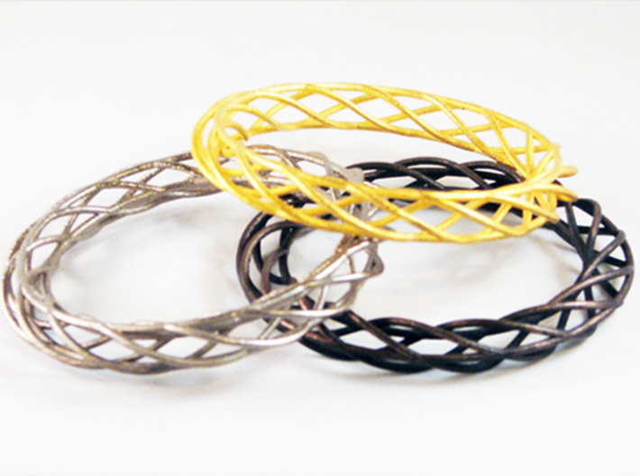 Twist Bangle A03L 3d printed Stainless Steel