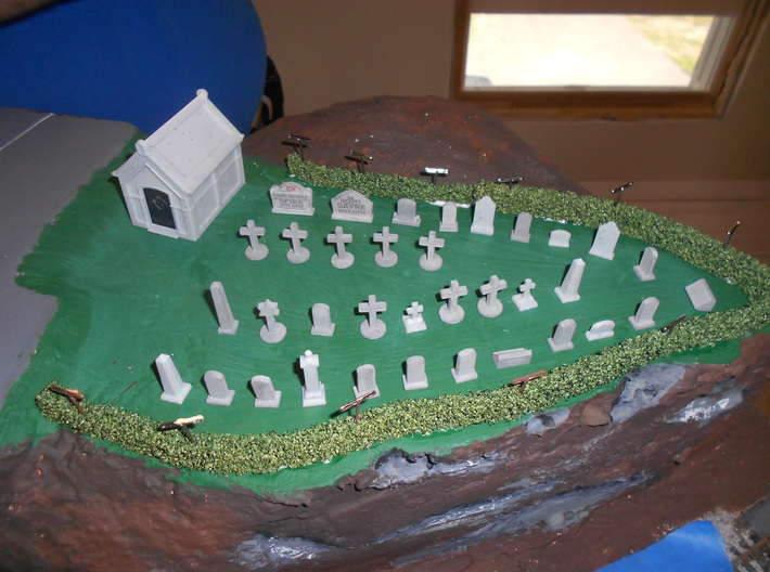 HO scale cemetery set 3d printed In use by the Endless Mountains Model Railroad Club, Montrose PA USA.
