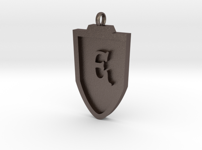 Medieval E Shield Pendant 3d printed