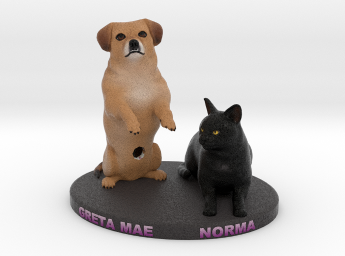 Custom Dog and Cat Figurine - Greta Mae and Norma 3d printed