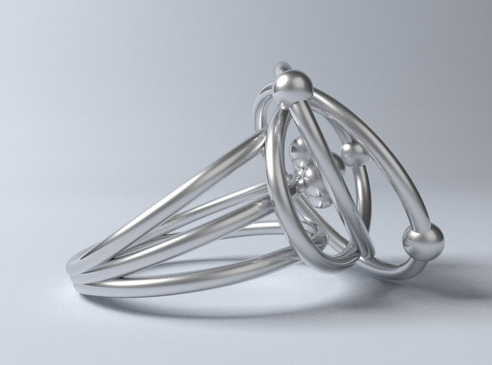 Atomic Model Ring - Science Jewelry 3d printed computer render of Protons, Neutrons, Electrons ring