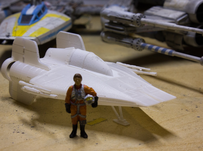 A-Wing 1/72 scale 3d printed After cleaning & alcohol soak w/ finemolds rebel pilot