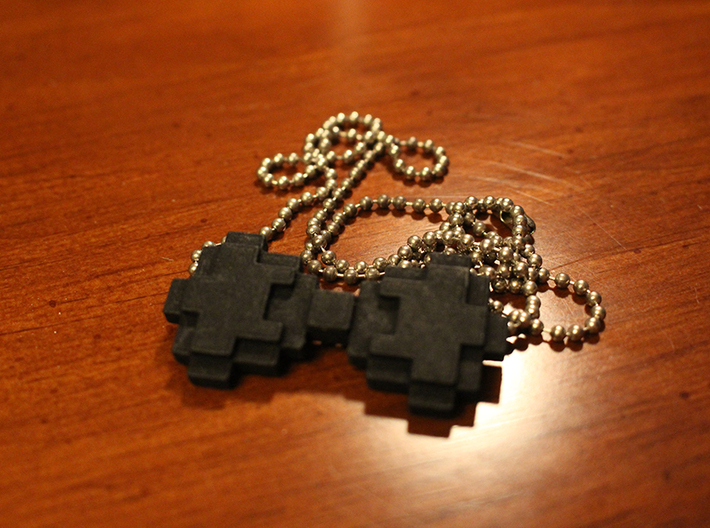 8-bit Bowtie Necklace 3d printed The black with a chain