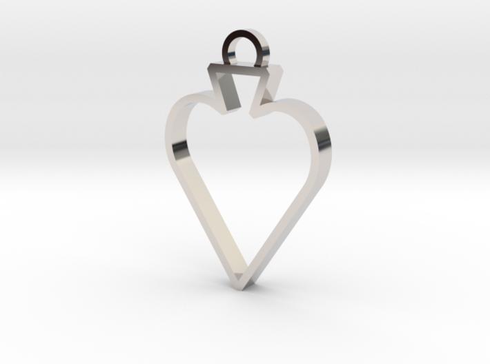 Open Spade Pendant 3d printed