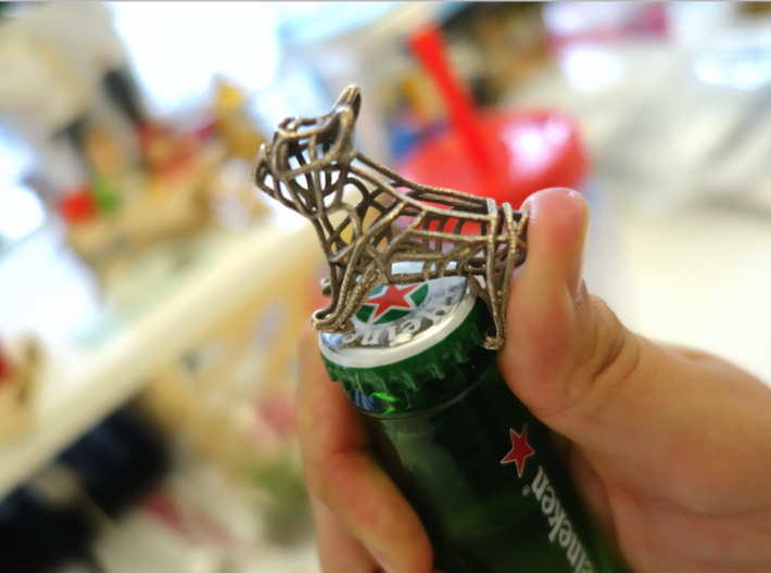 French Bulldog Bottle Opener Keychain 3d printed