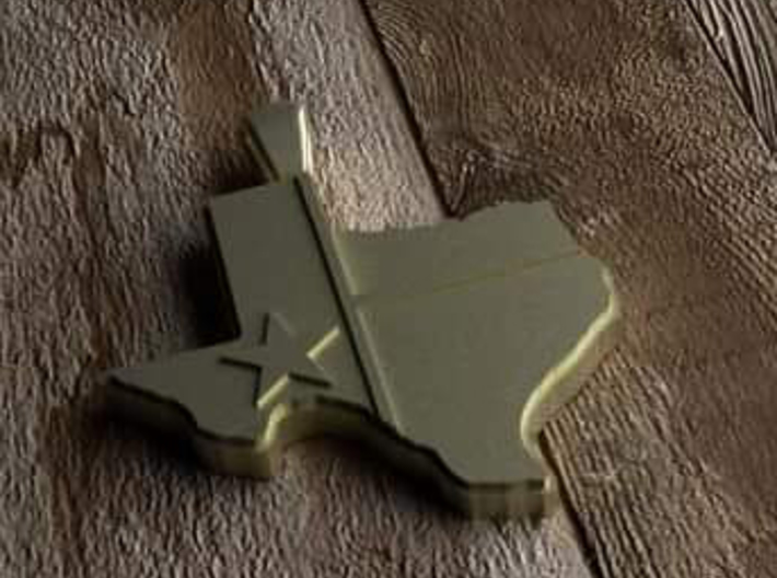 Pendant State of Texas with flag 3d printed