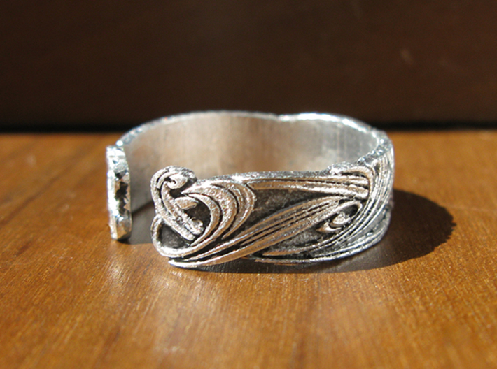 Art Nouveau Ribbons Ring 3d printed This is the Frosted Ultra Detail, painted and stained to look like raw silver.