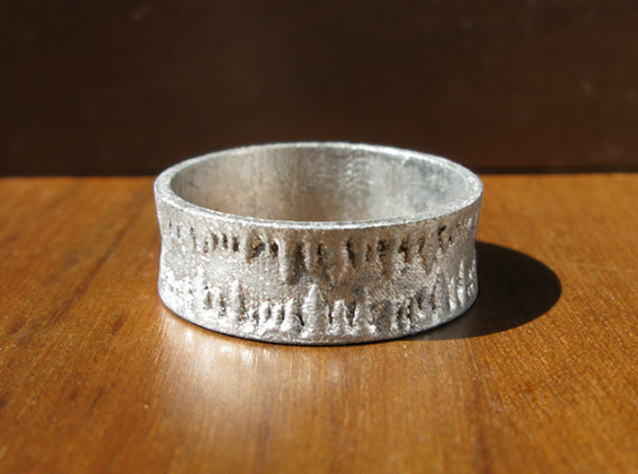 Cavern Rock Formations Ring 3d printed This is Frosted Ultra Detail, painted and stained to look like raw silver.