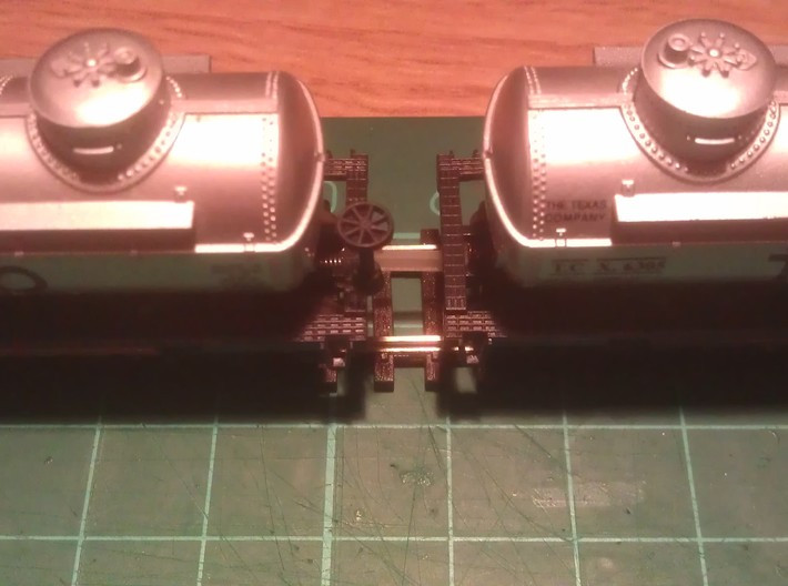 N Scale 9mm Fixed Coupling Drawbar x6 3d printed (12mm Coupling Used In Photo)