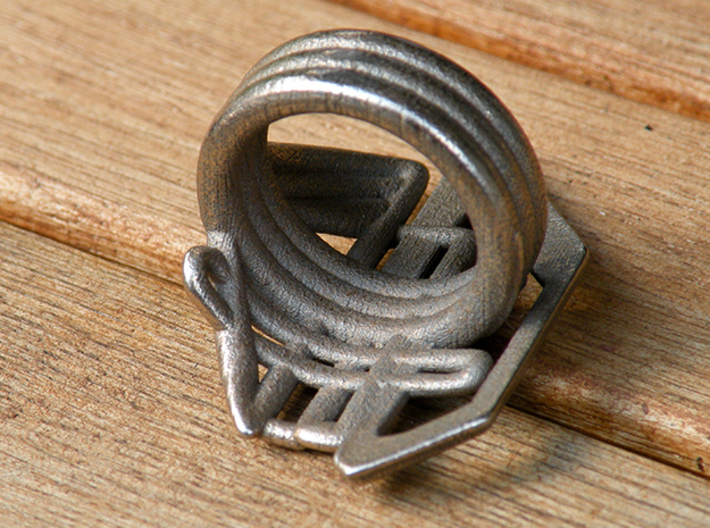 Balem's Ring2 - US-Size 2 1/2 (13.61 mm) 3d printed Ring 2 in stainless steel (shown: size 13)