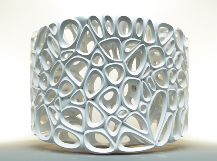Voronoi Bracelet 3d printed White Strong and Flexible