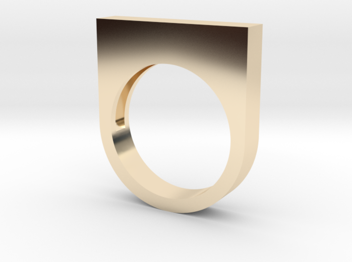 Modern Rectangle Bold Ring 3d printed