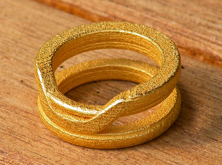 Balem's Ring1 - US-Size 9 (18.89 mm) 3d printed Ring 1 in polished gold steel (shown: size 6 1/2)