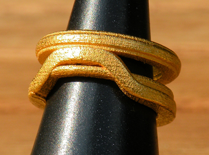 Balem's Ring1 - US-Size 9 1/2 (19.41 mm) 3d printed Ring 1 in polished gold steel (shown: size 6 1/2)