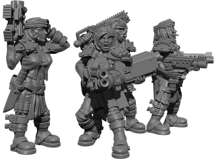 Female Miner Gang with Mixed weapons 3d printed This is a 3d render, not a photograph of the model printed in the material.