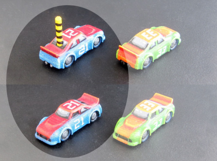 Miniature cars, NASCAR (42 pcs) - Hole variant 3d printed Hand-painted White Strong Flexible.