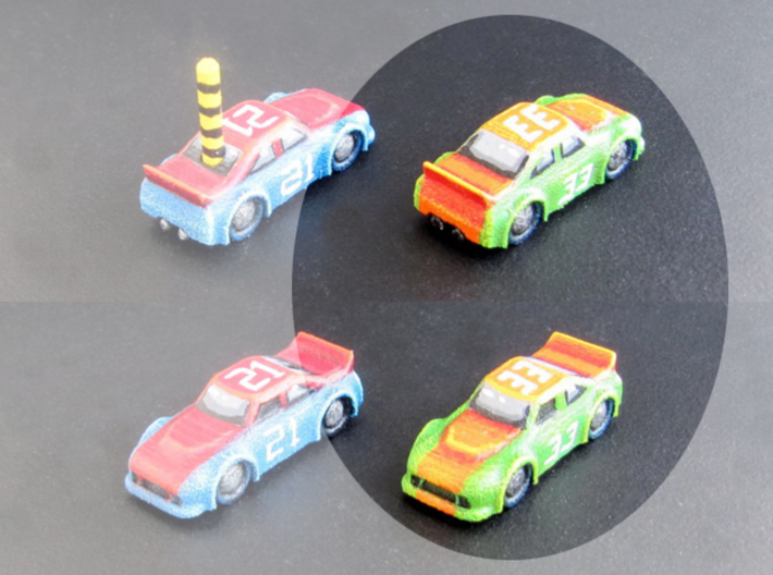 Miniature cars, NASCAR (42 pcs) 3d printed Hand-painted White Strong Flexible