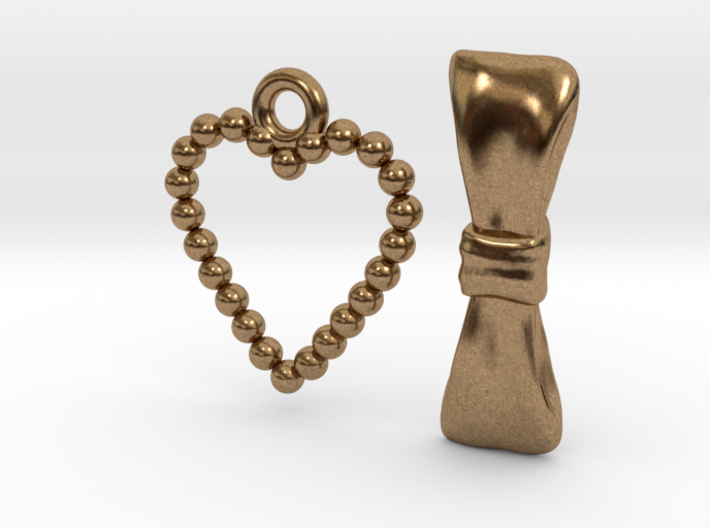 Heart and Bow Toggle Clasp Charms 3d printed