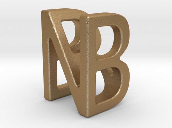 Two way letter pendant - BN NB 3d printed