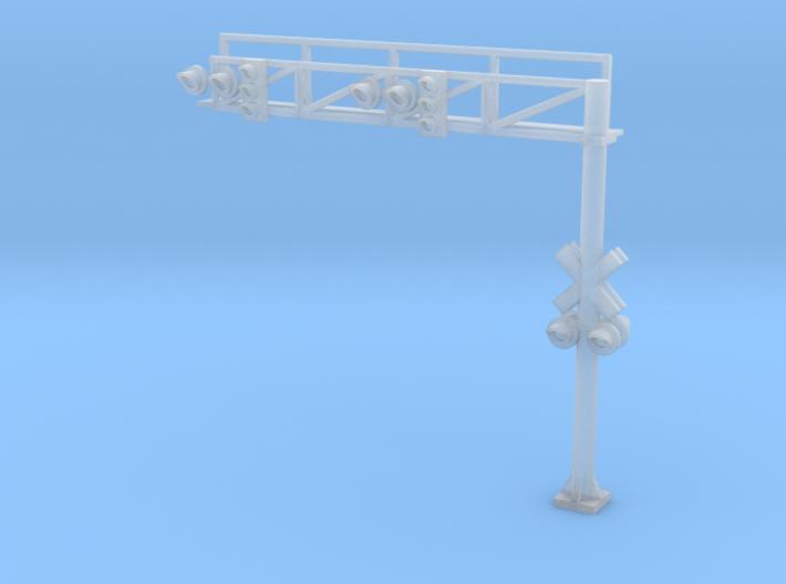 N RR crossing Gantry+traffic Lights 3d printed