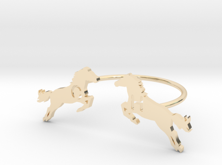 Bague Chevaux Rond 3d printed