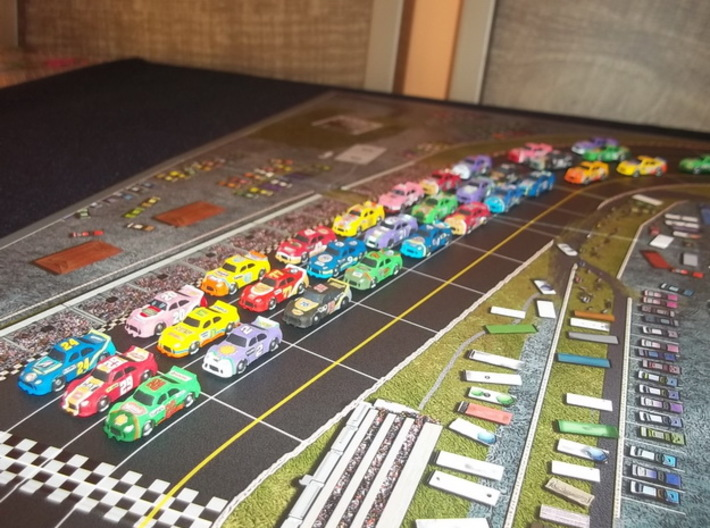 Miniature cars, NASCAR (42 pcs) 3d printed Hand-painted White Strong Flexible. Picture courtesy of descolado1 on BGG.