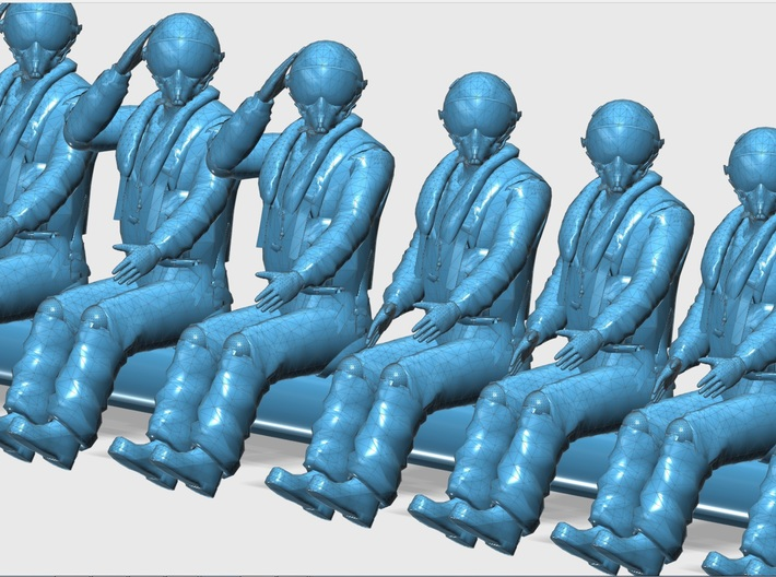 144-H0060: 15 fighter pilots in 5 positions, scale 3d printed