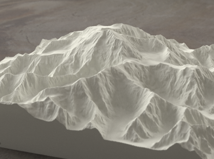 8'' Denali, Alaska, USA, Sandstone 3d printed Radiance rendering of the model, viewed from the South