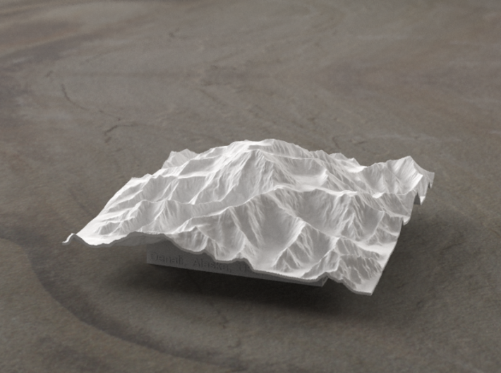4'' Denali, Alaska, USA 3d printed Radiance rendering of the model, viewed from the South