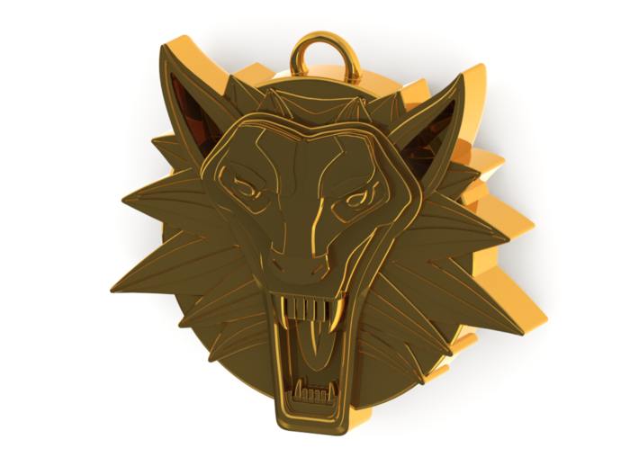 Two Sided Wolf Head Medallion Pendant 3d printed Polished Gold Front