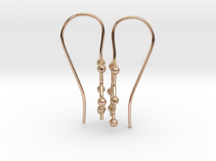 Caffeine molecule earrings with fishhook loops  3d printed