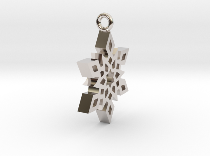 Snowflake B Necklace 3d printed