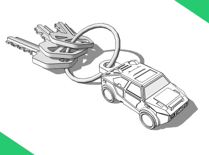Car Keychain (Customizable!) 3d printed Keys not included