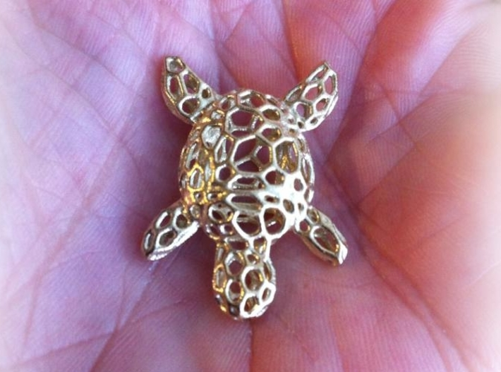 Turtle-Pendant-Shapeways-thickness-test2-0.6mmthic 3d printed