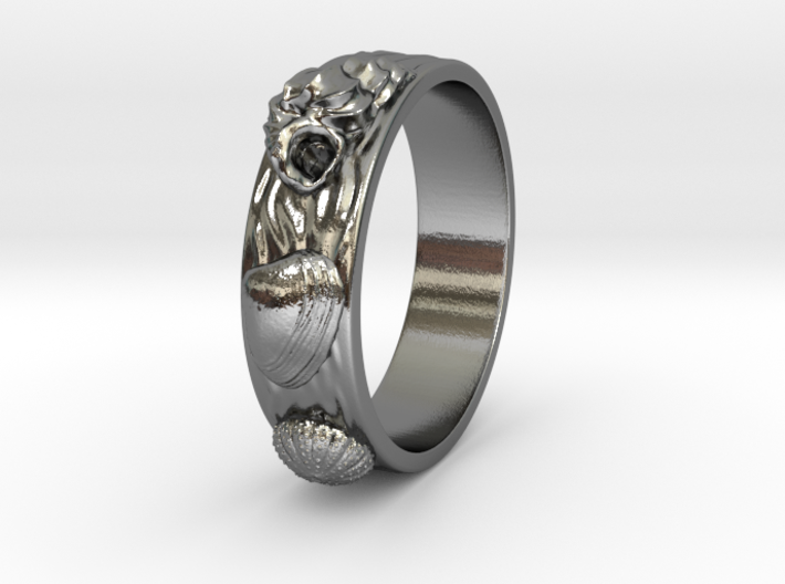 Sea Shell Ring 1 - US-Size 8 (18.19 mm) 3d printed