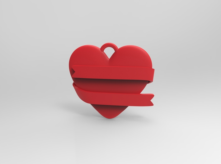 Heart With Ribbon 3d printed Digital Render by Keyshot 5