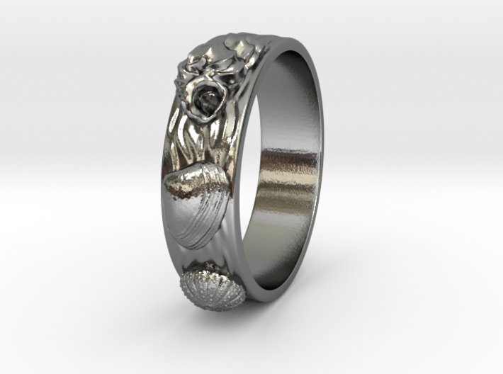 Sea Shell Ring 1 - US-Size 9 (18.89 mm) 3d printed
