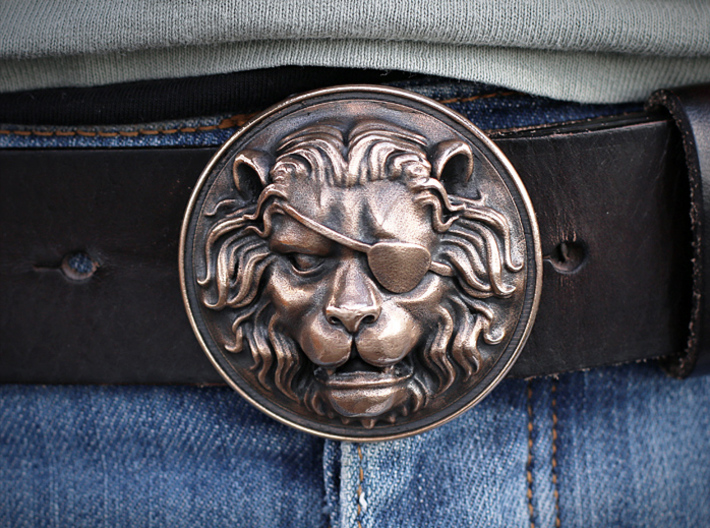 """The Colonel"" Belt Buckle 3d printed Oxidized with Liver of Sulfur"