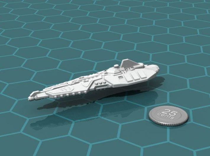 Stravok Shung Battleship 3d printed Render of the model, with a virtual quarter for scale.