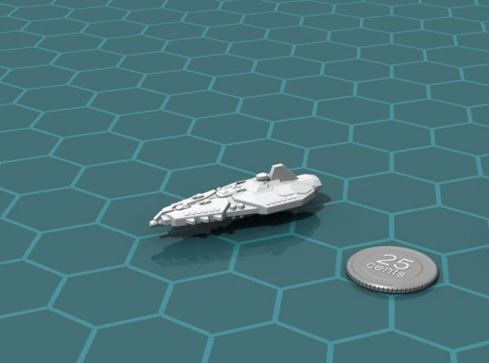 Stravok Treev Cruiser 3d printed Render of the model, with a virtual quarter for scale.