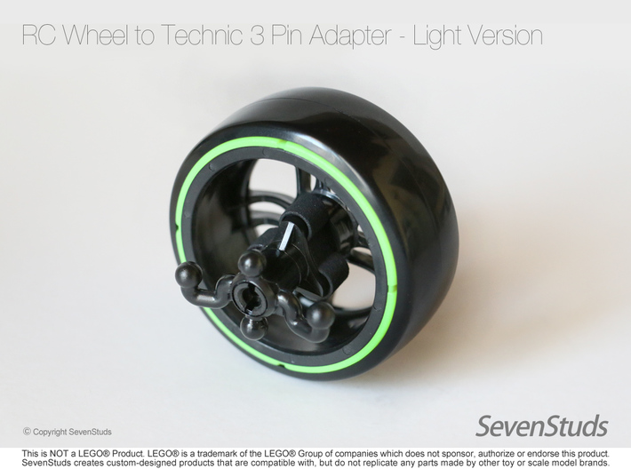 RC Wheel to Technic 3 Pin Adapter - Light 3d printed