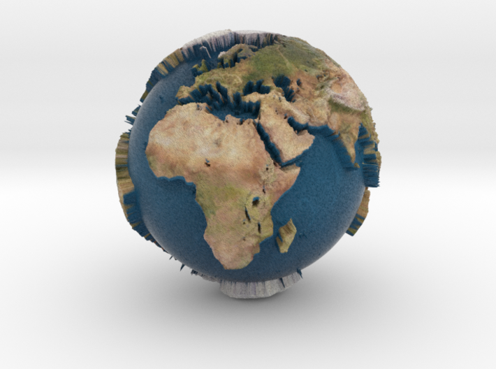 Planet Earth with relief continents highlighting 3d printed
