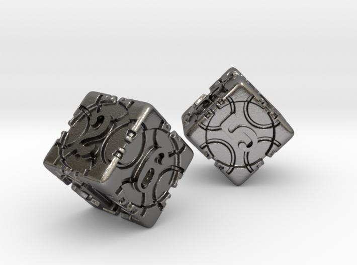 DICE 2 pack 3d printed Beautiful Nickel stell