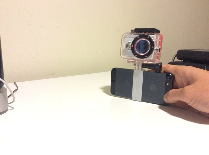 GoPro mount for iPhone 5 and 5s 3d printed Camera mounted on iPhone