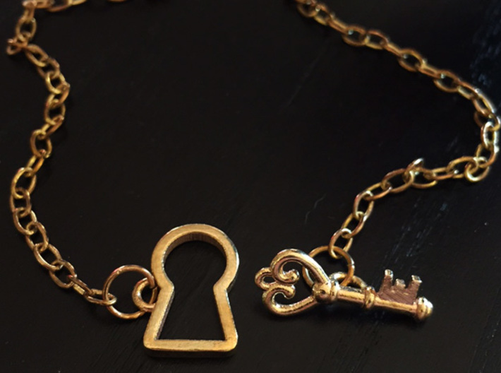 Lock and Key Toggle Clasp Charms 3d printed