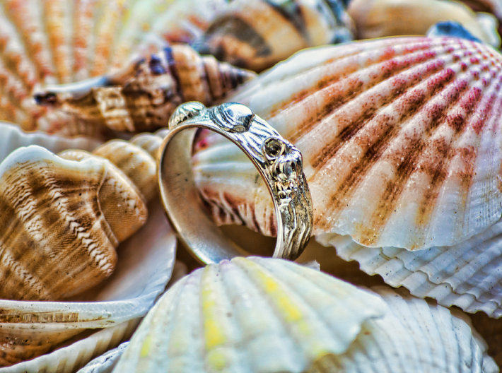 Sea Shell Ring 1 - US-Size 6 1/2 (16.92 mm) 3d printed Seashell Ring in polished silver (shown: size 10)