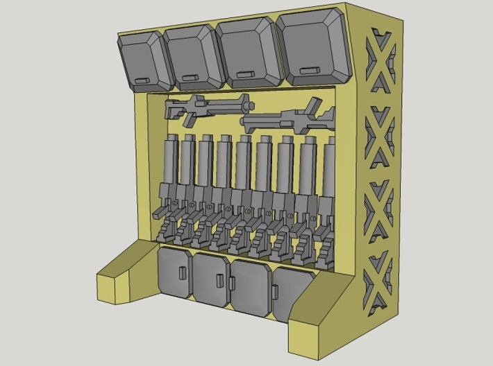 15mm-Scale Arms Rack/Locker 3d printed